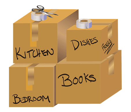 labelled moving home boxes for different rooms